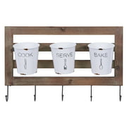 Danya B. Rustic Hanging Utensil Caddy with Hooks and Removable Tin Buckets – Kitchen Organizer - Flatware Holder – Towel, Apron, Oven Mitt Rack