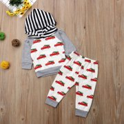Newborn Baby Boys Girls Christmas Car With Tree Pattern Hooded Tops Pants Outfits Clothes