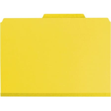 Smead, SMD19084, Pocket Divider PressBoard Classification Folders, 10 / Box, Yellow Pocket Style Classification Folders