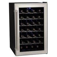 "Koldfront TWR282 Silver on Black 18"" Wide 28 Bottle Wine Cooler"
