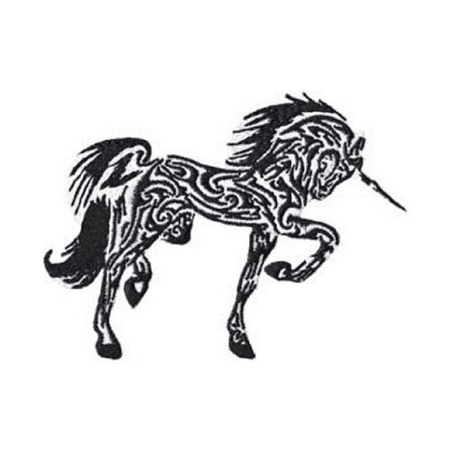 03e06d27d Fantasy Animals Iron on Patch - Unicorn Tribal Tattoo Design Applique -  Walmart.com
