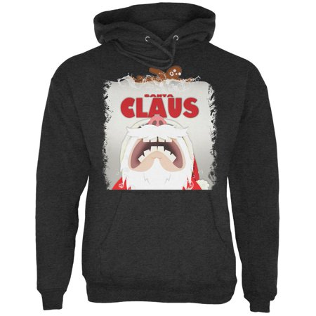 Christmas Santa Jaws Claus Horror Charcoal Heather Adult Hoodie
