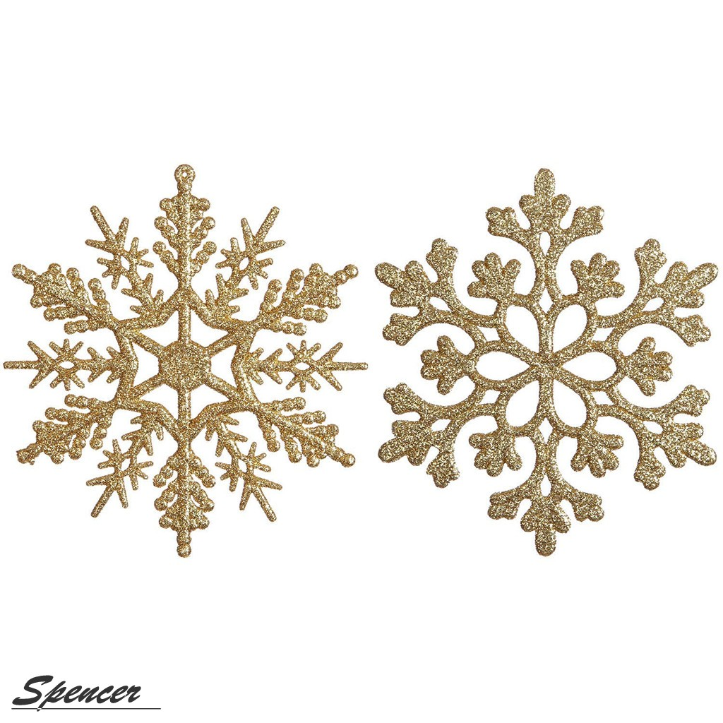 Spencer 4 inch Pack of 12 White Glitter Snowflake Christmas Ornaments Xmas Tree Hanging Decoration