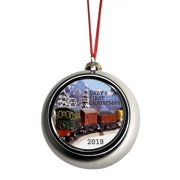 New Baby - Baby's First Christmas 2019 Ornament - Train Ornaments Silver Bauble Christmas Ornament Balls