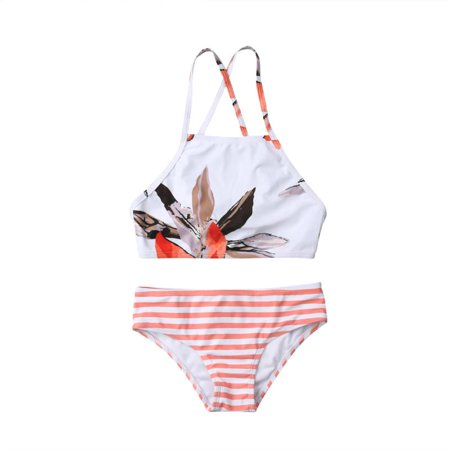 Family Matching 2 Pieces Flower Print Bathing Suit Mommy&Me Spaghetti Straps High Neck Crop Top+Striped Bottoms