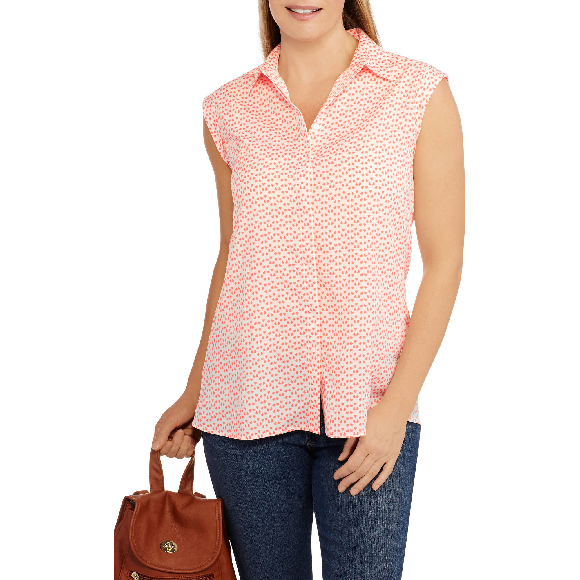 Millennium Women's Printed Cap Sleeve Collared Blouse