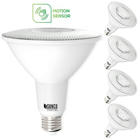 Par38 Bullet Flood - Sunco Lighting PAR38 Motion-Activated LED Light Bulb 13W (100W) 1100lm 3000K 4 Pack