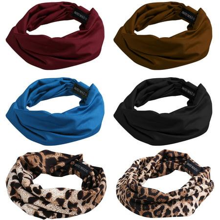 c0675049f6e5 FRCOLOR 6pcs Sweat Wicking Stretchy Athletic Print Wide Bandana Headbands  Head Wrap Yoga Headband Head Scarf