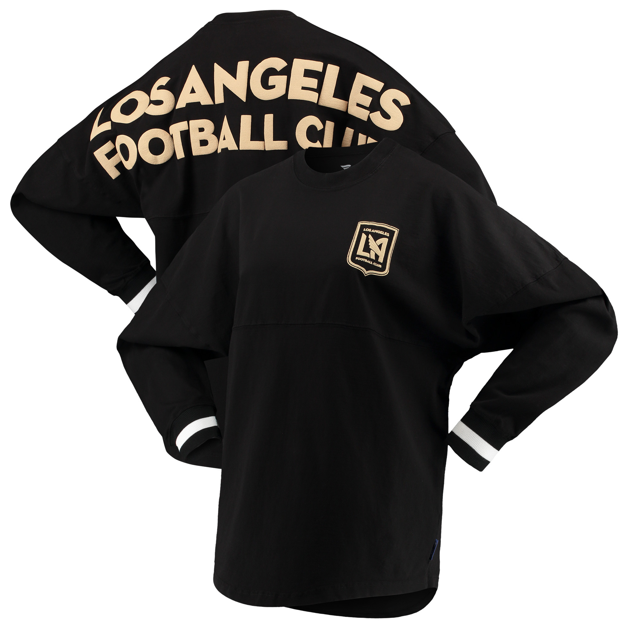 LAFC Fanatics Branded Women's Cuffed Spirit Jersey Long Sleeve T-Shirt- Black