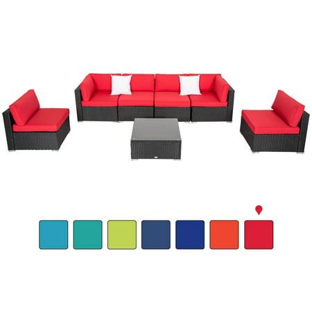 Kinbor 7pcs Outdoor Patio Furniture Sectional Pe Wicker Rattan Sofa Set Red ()