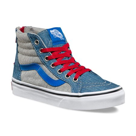 Vans SK8 Hi Zip Jersey Denim Imperial Kids Skate Shoes Size 10.5 (Vans Sk8 Hi Zip)