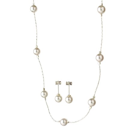 """Sterling Silver Chain Simulated Pearl Station Necklace Earrings Made with Swarovski Crystals, 16"""""""