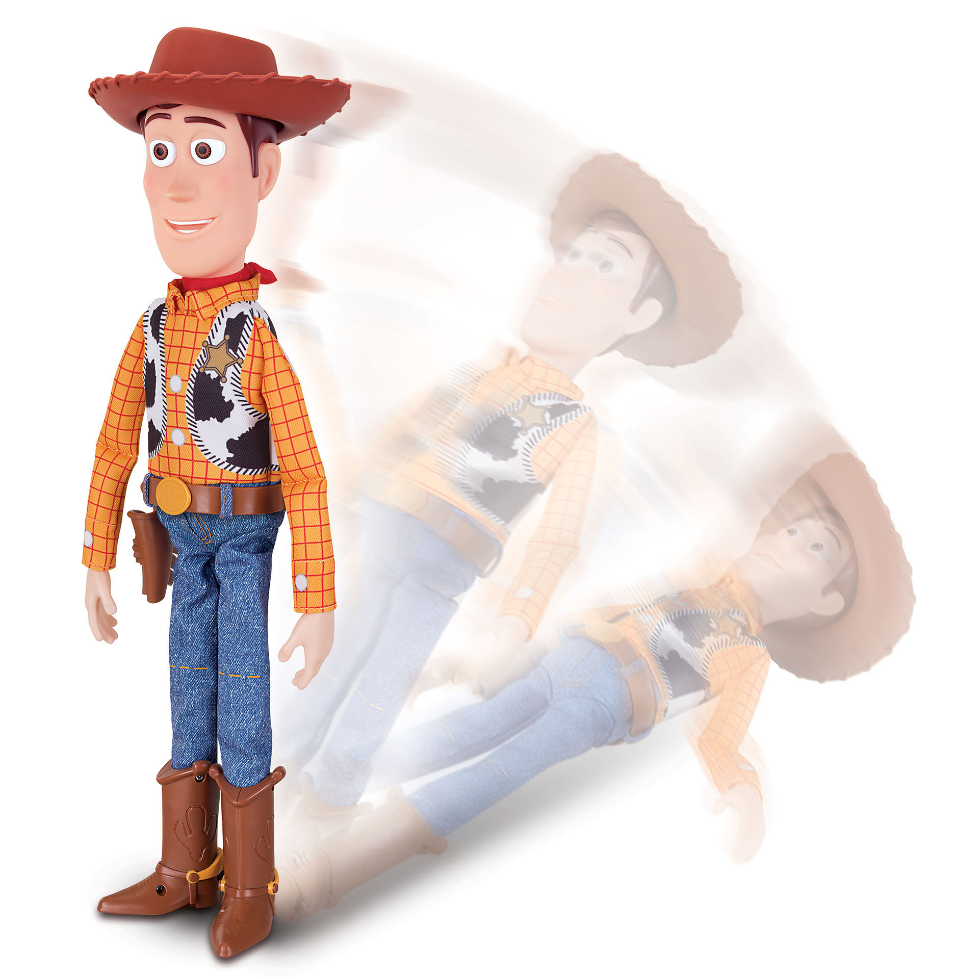 Toy Story 4 Sheriff Woody with Interactive Drop Down action by Thinkway Toys