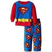 DC Comics Superman Boys Pajama Long Sleeve Shirt and Lounge Pants Fleece Sleepwear Set, Blue, Size: 8