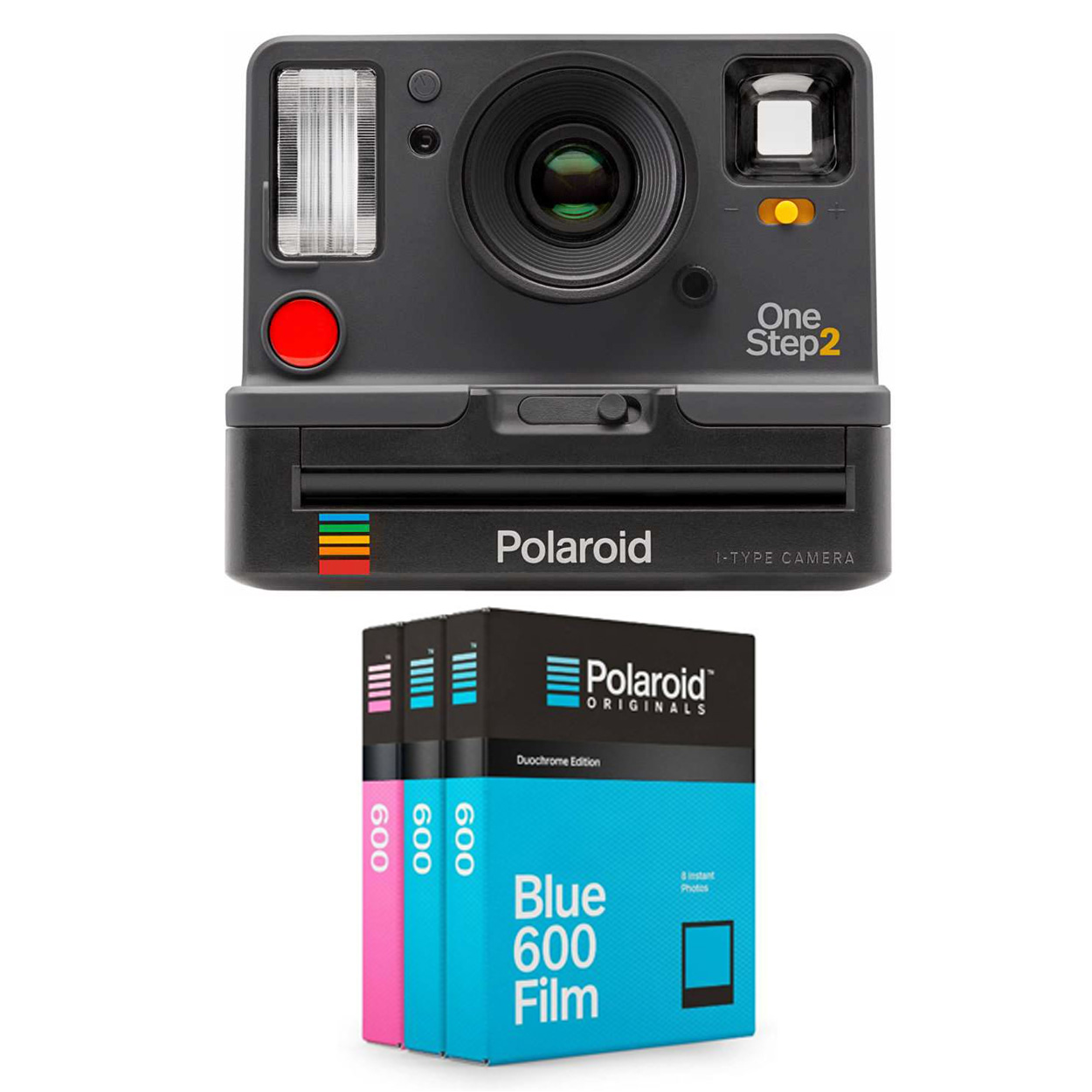 Polaroid OneStep2 i-Type Rechargeable Camera (Graphite) w  Core Film Triple Pack by Polaroid Originals