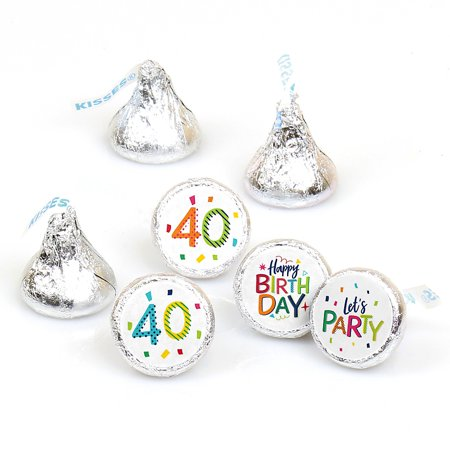 40th Birthday Party Invitations (40th Birthday - Cheerful Happy Birthday - Colorful Fortieth Birthday Party Round Candy Sticker Favors - Labels Fit Hershey's Kisses (1 Sheet of)