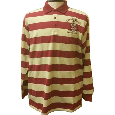 - Kappa Alpha Psi Rugby Style Striped Polo Mens Tee [Long Sleeve - Crimson Red/Cream - XL]