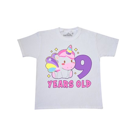 9 Years Old With Cute Unicorn Birthday Youth T Shirt
