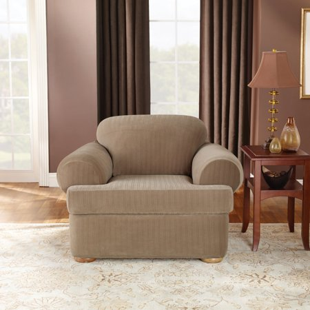 Sure Fit Stretch Pinstripe T-Cushion Two Piece Chair Slipcover