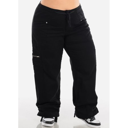 Womens Plus Size Cargo Pants High Waisted Drawstring Waist Black Pants 10195D Womens Drawstring Hem Cargos
