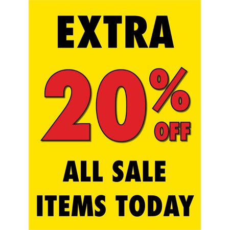 Every 20% Off Sale Retail Display Sign, 18