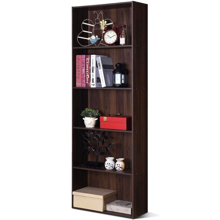Costway 5-Shelf Storage Bookcase Stand Modern Multi-Functional Display Cabinet (Contemporary Walnut Cabinet)