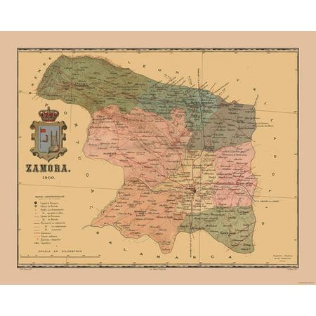 Map Of Spain Zamora.International Map Spain Zamora 1900 Martine 1904 28 53 X 23
