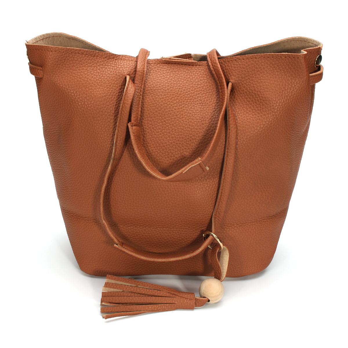 4PCS Women Clutch PU Leather Handbag Shoulder Bag Tote Purse Messenger