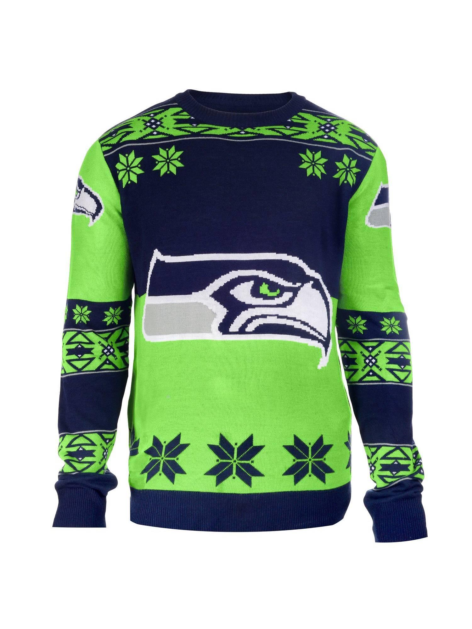 748061ba02e Football 2015 Big Logo Ugly Crew Neck Holiday Sweater - Seattle Seahawks -  Medium