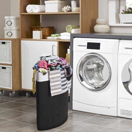 Costway Corner Bamboo Hamper Laundry Basket Washing Cloth Bin Storage Bag Lid Black ()