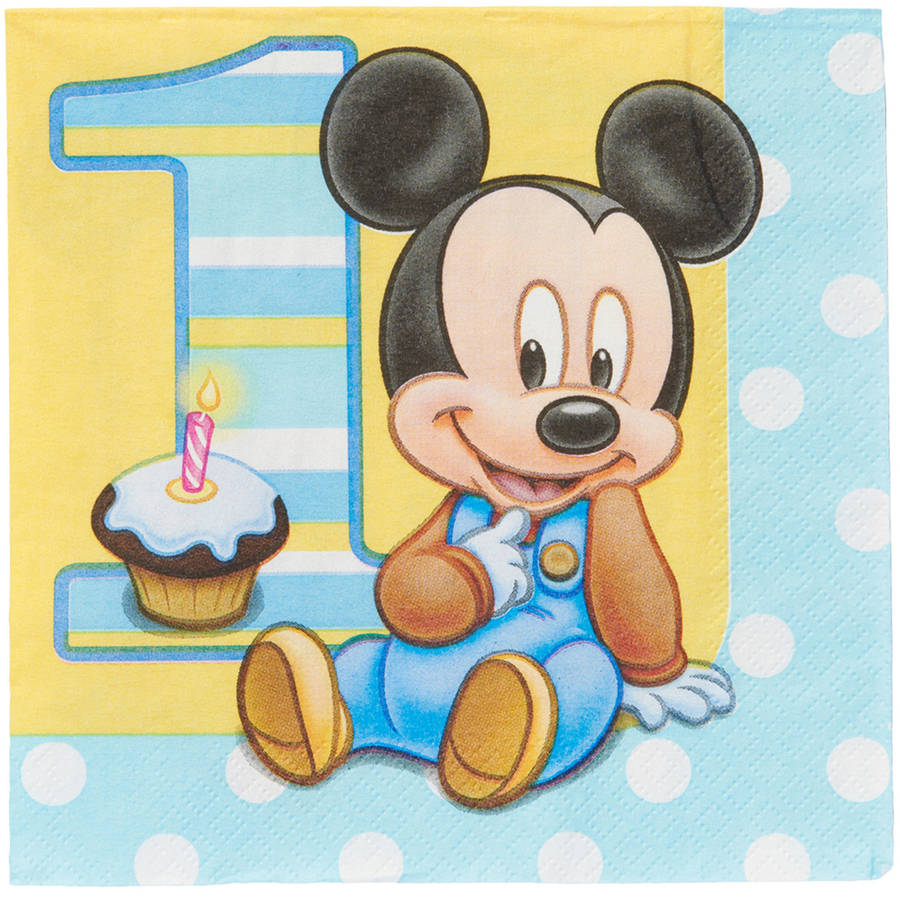 Mickey Mouse First Birthday Lunch Napkins, 16 Count, Party Supplies