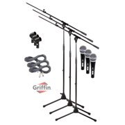 Telescoping Microphone Boom Stand (3 Pack) by Griffin|Professional Cardioid Dynamic Vocal Microphones with Clip|Singing Microphone for Music Stage Performances & Studio Recording|XLR Mic Cable Package