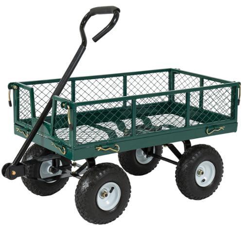 Best Choice Products Utility Cart Wagon Lawn Whellbarrow Steel Trailer 660lbs