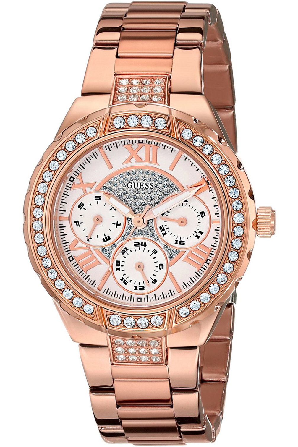 STEEL W0111L3,Ladies Sparkling Hi-Energy,Mid-Size Rose Gold-Tone,Crystal Accented Bezel,WR