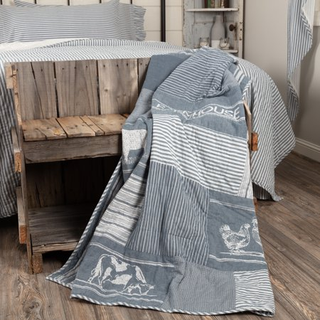- Denim Blue Farmhouse Decor Miller Farm Farm Animal Rod Pocket Cotton Stenciled Chambray Nature Print Throw