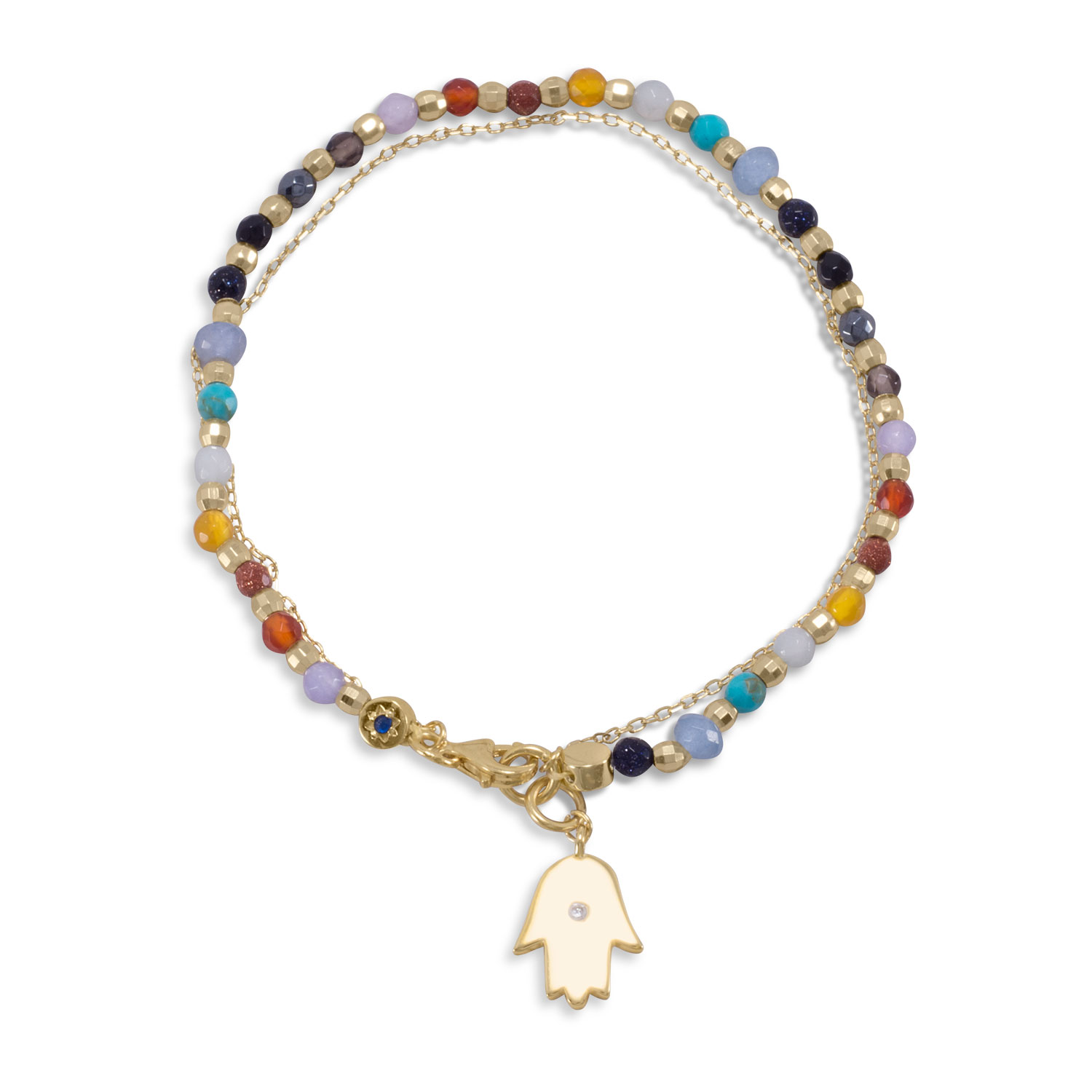 Layered Bracelet Hamsa Charm and Genuine Stone Beads Gold-plated by unknown