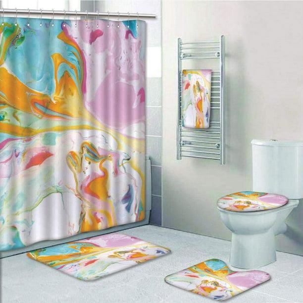 Shower Curtain Bath Towel Rug, Contemporary Bathroom Rug Sets India
