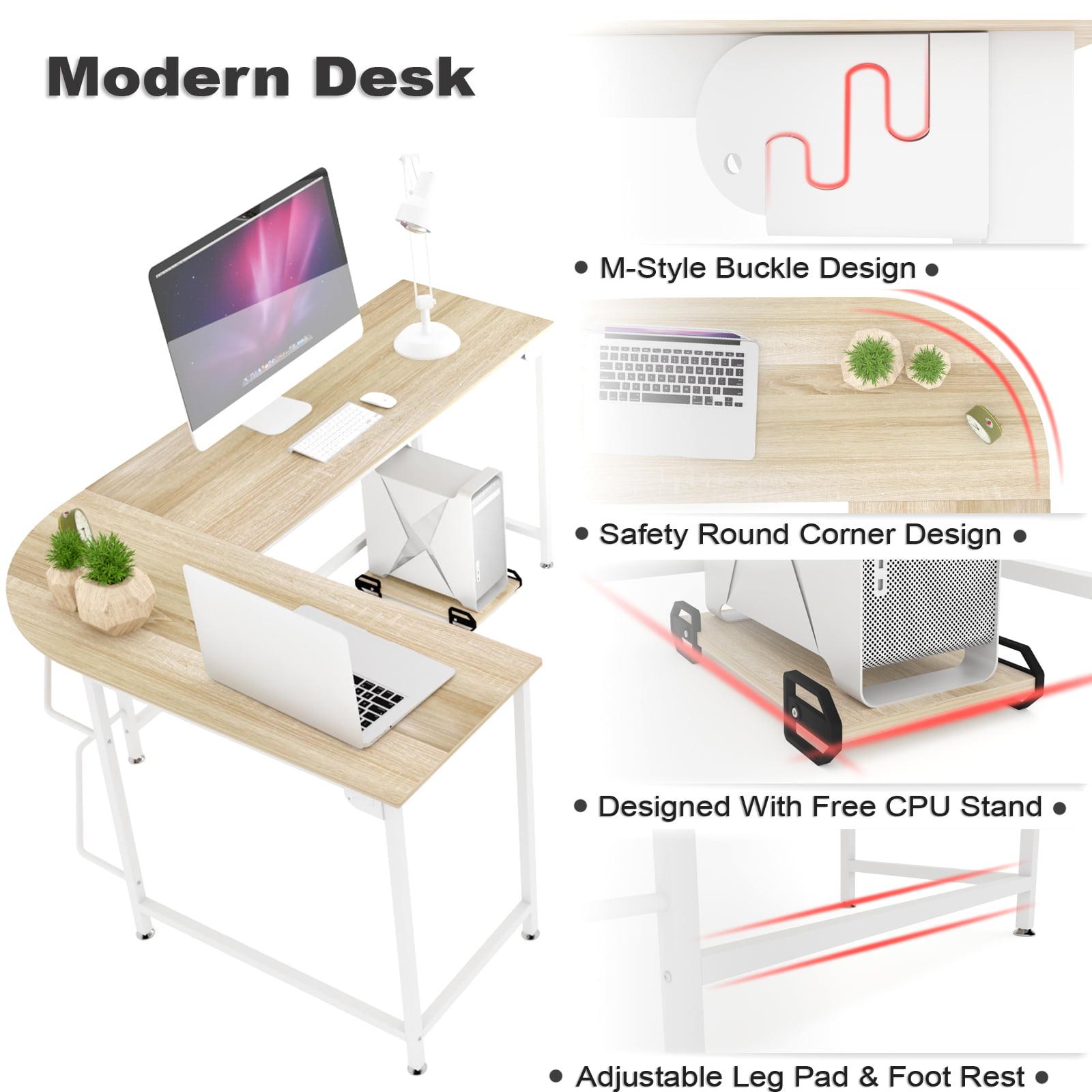 L Shaped Computer Corner Desk Wood Board Steel Frame Laptop Table Workstation Study Home Office White Frame Walmart Com Walmart Com