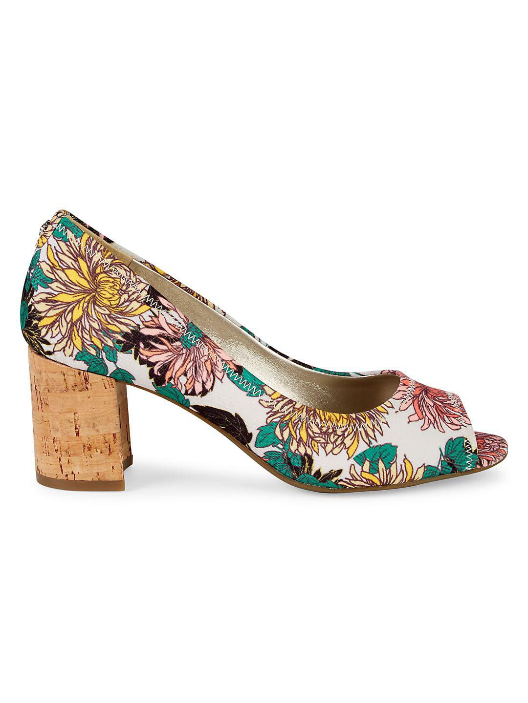 Meredith Floral Peep Toe Pumps