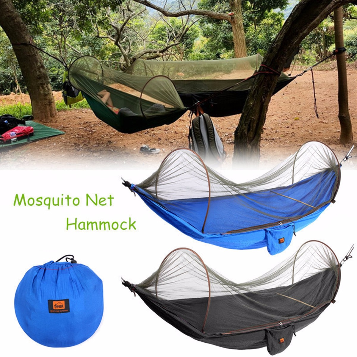Portable Parachute Camping Hammock Outdoor Camping Sleeping Hanging Bed with Mosquito Net for Indoor Outdoor Use -Carry Bag Included