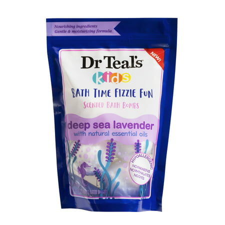 Dr Teal's Kids Bath Fizzies, Deep Sea Lavender, 4 Count, 1.6 oz