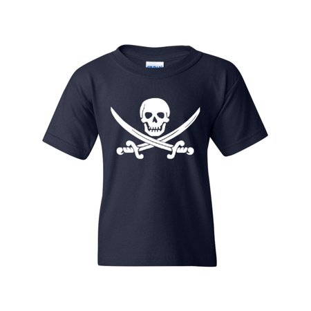 Pirate Skull & Crossbones Pirate Flag Unisex Youth Kids T-Shirt Tee
