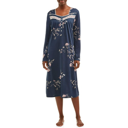 Secret Treasures Women's and Women's Plus Traditional Long Sleeve Sleep Gown (Long Ladies Gowns)