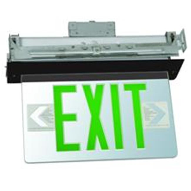 Morris Products 73337 Recessed Mount Edge Lit Led Exit Signs Green On Clear Panel Black Housing