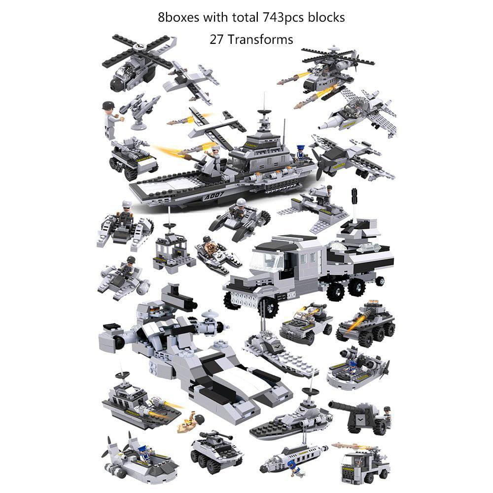 743pcs blocks 8 IN 1 COGO Military Wars Spaceship Building Block Brick Toys by