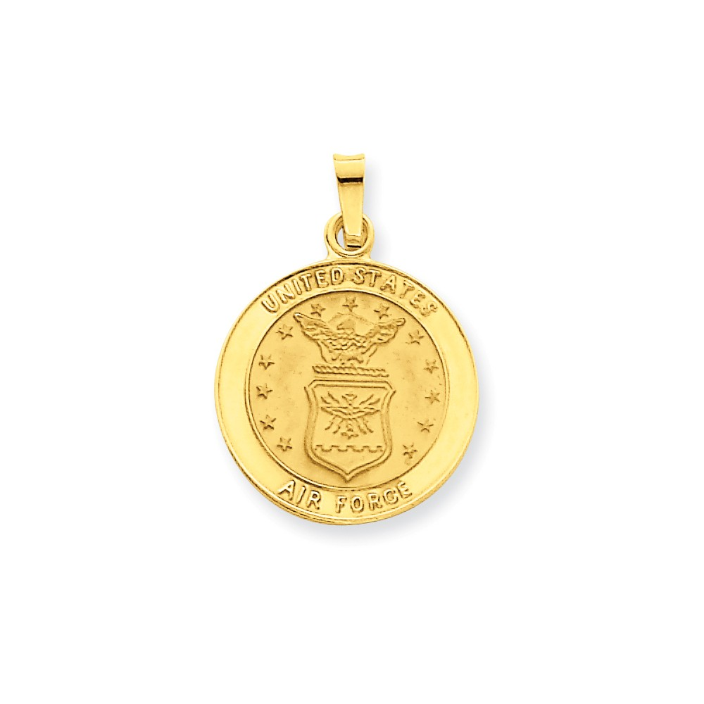 14k Yellow Gold Engravable U.S. Air Force Insignia Disc Pendant