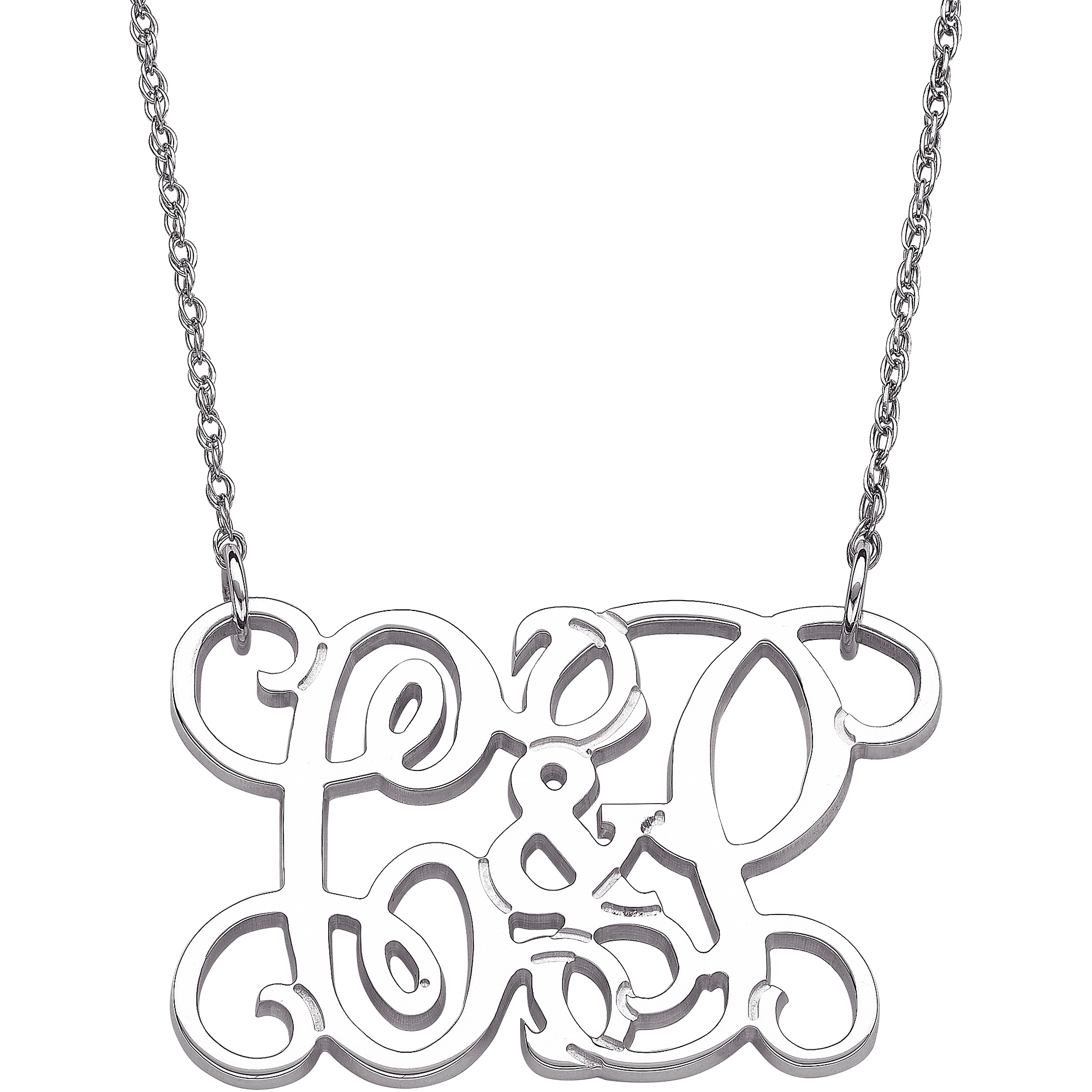 Personalized Couple's Sterling Silver Initial Monogram Necklace