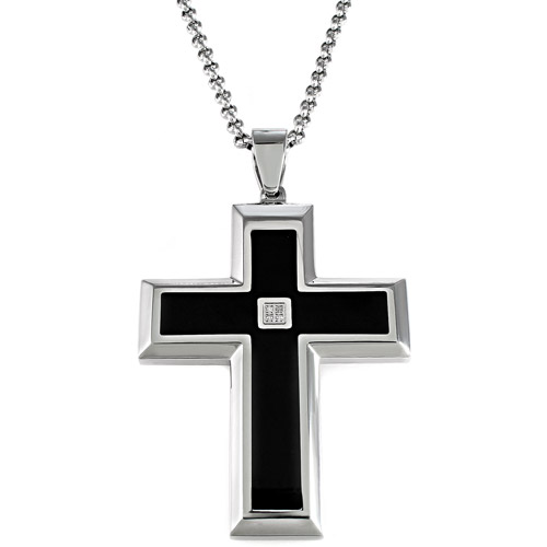 "Men's Diamond Accent Black and White Stainless Steel Cross Pendant, 24"""