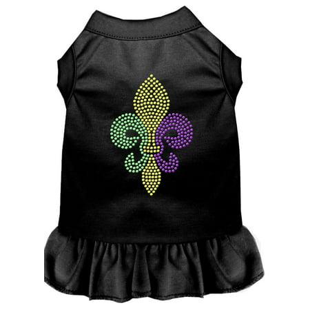 Mardi Gras Fleur De Lis Rhinestone Dress Black Sm (10) - Mardi Gras Dress Ideas