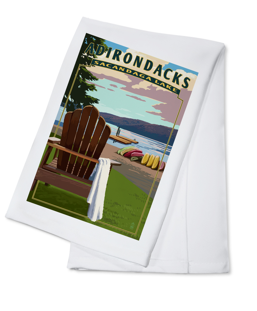 Adirondack Mountains, New York Sacandaga Lake Adirondack Chair Lantern Press Artwork (100% Cotton Kitchen Towel) by Lantern Press